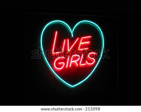 live girls neon sign - stock photo