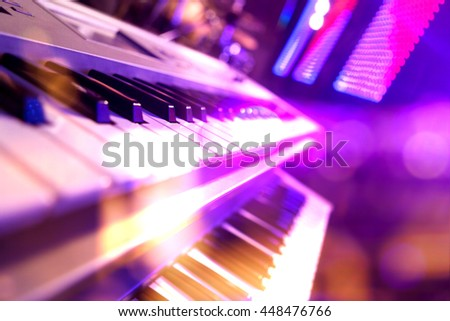 Live music background.Concert and music festival.Instrument on stage and band - stock photo