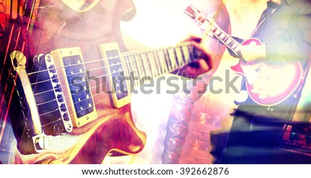Live music background.Guitar design composition - stock photo