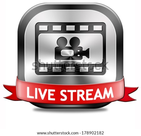 live stream video film or movie on or TV button or icon - stock photo