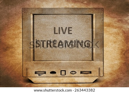 Live streaming  sign on vintage TV - stock photo