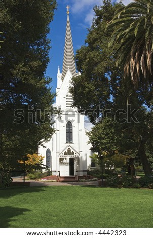 Lively small town church - stock photo