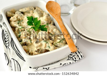 Liver (meat) stroganoff, copy space for your text - stock photo