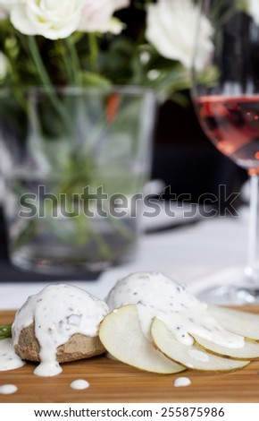 liver pate with cream and truffles, liver pate - stock photo