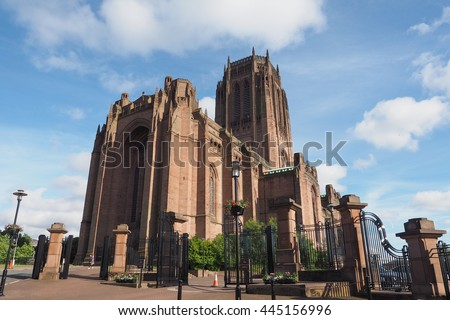 Liverpool Cathedral aka Cathedral Church of Christ or Cathedral Church of the Risen Christ on St James Mount in Liverpool, UK - stock photo