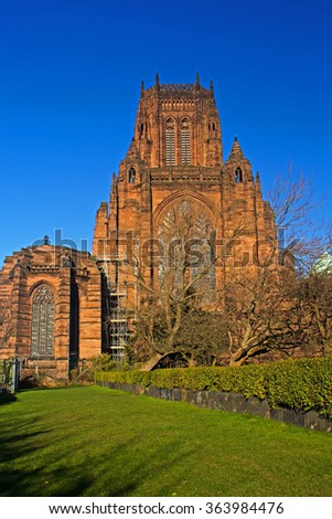 Liverpool Cathedral built on St James's Mount in Liverpool ranks as the fifth-largest cathedral in the world, Grade 1 listed building - stock photo