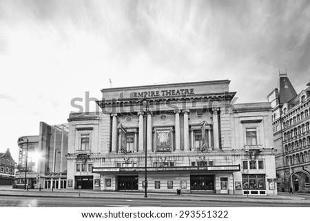 LIVERPOOL, ENGLAND - JULY 5, 2015: Empire Theatre, Liverpool is the second to be built on the site, and was opened in 1925 - stock photo