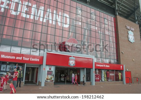 LIVERPOOL, ENGLAND - JUNE 3:General view of Liverpool football club store on June 3, 2014 in Liverpool, England. Anfield stadium is home stadium of Liverpool football club. - stock photo