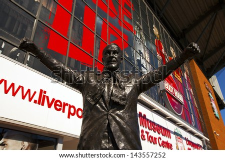 LIVERPOOL, ENGLAND - MAY 25: Bill Shankey statue at the Anfield stadium home for Liverpool Football Club one of the English Premier League F.C.   Anfield stadium on May 25, 2013 in Liverpool, UK. - stock photo