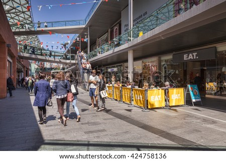 Liverpool, England: 14 May 2016 - Shoppers in Liverpool One, the shopping, residential and leisure complex in the centre of Liverpool, England, UK
