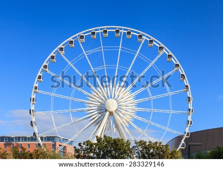 LIVERPOOL, ENGLAND - MAY 24:  The Wheel of Liverpool pictured on May 24, 2015 in Liverpool, England.  The wheel stands 60m tall and offers panoramic views of the city.