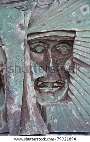 Liverpool Metropolitan Cathedral,UK. Stone carving of Christ on the exterior of the building. - stock photo