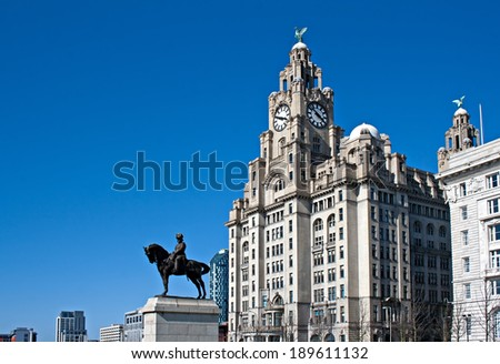 Liverpool's World Heritage status waterfront buildings - stock photo