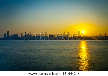 Liverpool Skyline at Sunrise  - stock photo