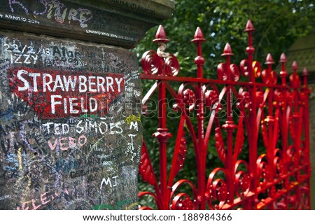 LIVERPOOL, UK - APRIL 16TH 2014: Strawberry Field in Liverpool on 16th April 2014.  The location was immortalised in 'The Beatles' song 'Strawberry Fields Forever'. - stock photo