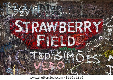 LIVERPOOL, UK - APRIL 16TH 2014:The sign for Strawberry Field in Liverpool on 16th April 2014.  Strawberry Field was immortalised in 'The Beatles' song 'Strawberry Fields Forever'. - stock photo