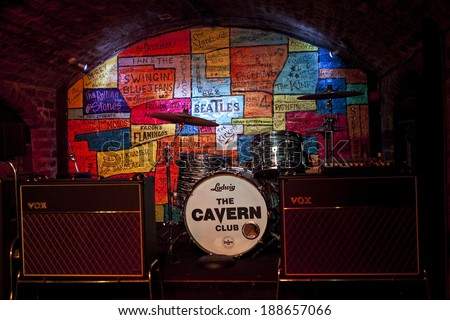 LIVERPOOL, UK - APRIL 17TH 2014: The stage inside the Cavern Club in Liverpool on 17th April 2014.  Many bands started playing at the Cavern before they were famous including 'The Beatles'. - stock photo