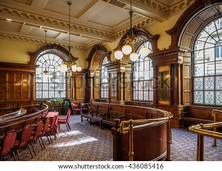 LIVERPOOL, UK - APRIL 23, 2016: The interior of the Council chamber of the town hall, Liverpool, Merseyside.