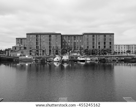 LIVERPOOL, UK - CIRCA JUNE 2016: The Albert Dock  and Salthouse Dock in black and white