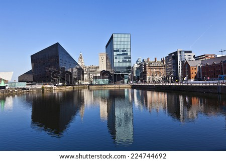 LIVERPOOL, UK - JULY 25, 2014: Old and new buildings of the  Liverpool city centre; the commercial, cultural, financial and historical heart of Liverpool, England, and its surrounding region. - stock photo