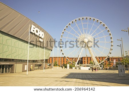 LIVERPOOL, UK - JULY 24TH 2014: Echo Arena Liverpool is the arena half of ACC Liverpool located on the former King's Dock in Liverpool with the BT Convention Centre forms the other half of the complex - stock photo