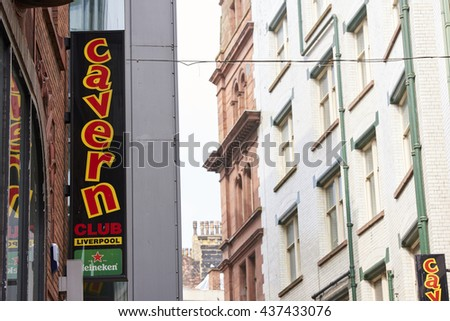 LIVERPOOL, UK. JUNE 09, 2016: Banner at entrance to The Cavern Club, on Mathew Street, where The Beatles played their first concert. - stock photo