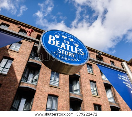 LIVERPOOL, UK - MARCH 25TH 2016: The sign for 'The Beatles Story' Exhibition at the Albert Dock in Liverpool on 25th March 2016.
