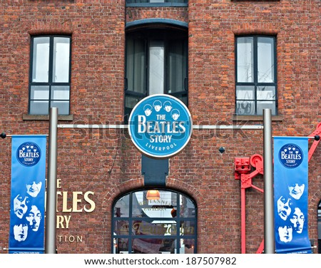 Liverpool UK, 26 March 2014, The Beatles Story Exhibition Sign, at Albert Dock, Liverpool, UK. A popular tourist attraction. - stock photo