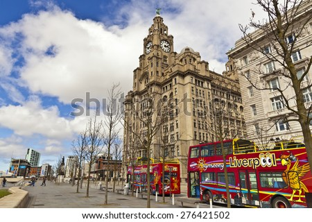 LIVERPOOL, UK - MAY 3, 2015: Cityscape at the Pier Head the city centre of Liverpool, England part of the Liverpool Maritime Mercantile City UNESCO World Heritage Site - stock photo