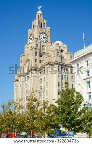 LIVERPOOL, UK - OCTOBER 1, 2015:The Royal Liver Building on a sunny day, Liverpool, Merseyside, UK