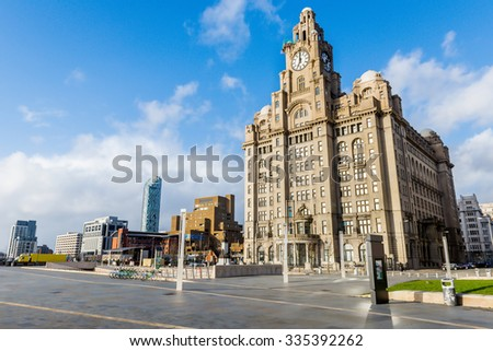 LIVERPOOL, UK - 1th APRIL 2015: The Liver building is one of the Three Graces. The Three Graces are on the Liverpool waterfront and recognised as an Unesco World Heritage Site.
