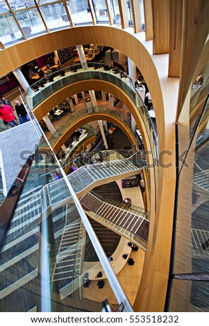 LIVERPOOL UK 4th JANUARY 2017. Interior of the newly refurbished Liverpool Central Library