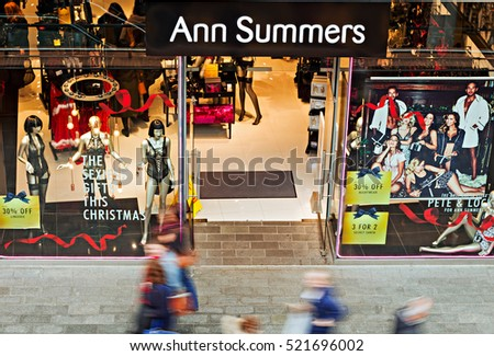 LIVERPOOL UK, 13th NOVEMBER 2016. People Christmas shopping at the Ann Summers Shop in Liverpool city center.