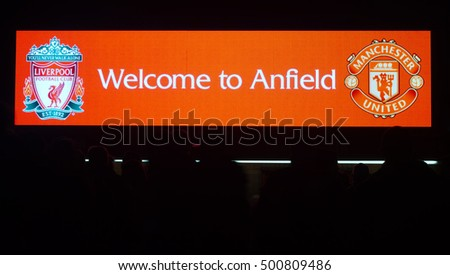 LIVERPOOL UK, 17th OCTOBER 2016. Welcome to Anfield sign and people in silhouette at Liverpool Football Club Stadium. Liverpool UK.