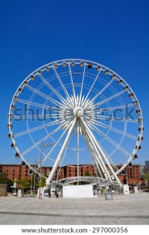 LIVERPOOL, UNITED KINGDOM - JUNE 11, 2015 - View of the Echo wheel of Liverpool at Keel Wharf, Liverpool, Merseyside, England, UK, Western Europe, June 11, 2015.