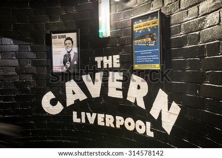 LIVERPOOL, UNITED KINGDOM - OCTOBER 11, 2014:  Interior entrance at historic Cavern Club in Liverpool.  - stock photo