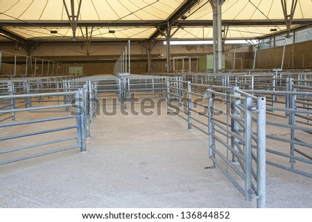 Livestock sorting shed - stock photo