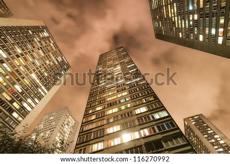 Living block buildings - stock photo