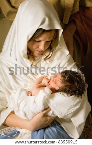Living christmas nativity scene reenacted with a real 18 days old baby - stock photo