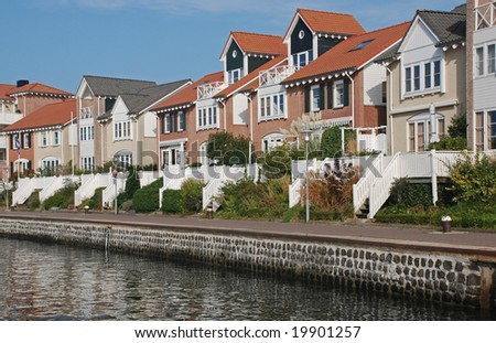 living in a family house on the waterfront - stock photo