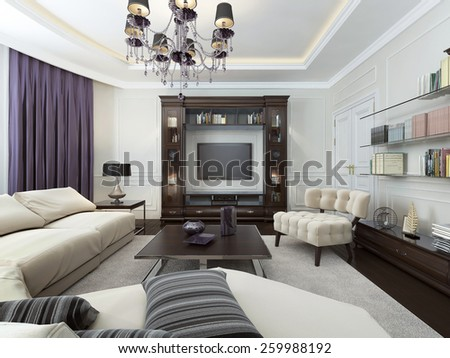 Living in Art Deco style, 3d images - stock photo