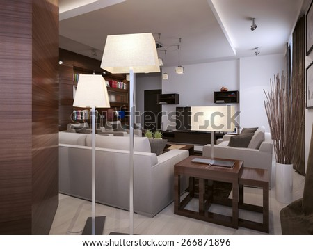 Living room contemporary style, 3d render - stock photo