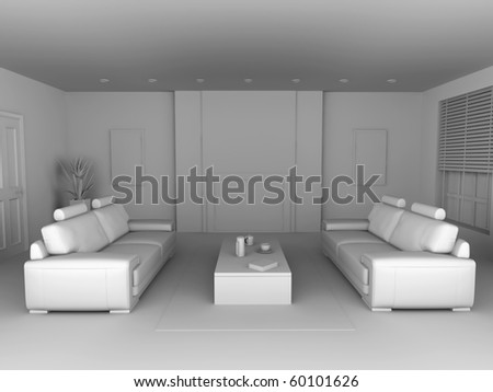 Living Room. 3D rendered Illustration. Interior visualisation of a living room.