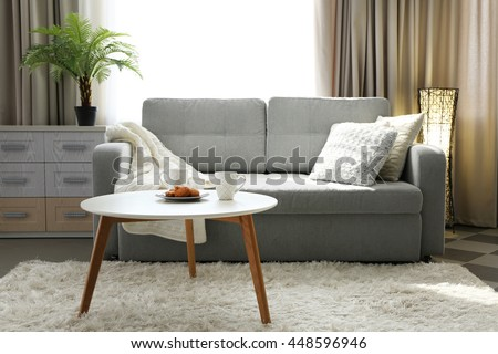 Living Room Design Interior With Sofa And Round Table Part 96