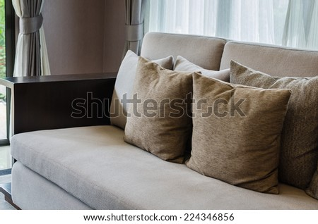 living room design with white sofa and modern lamp - stock photo