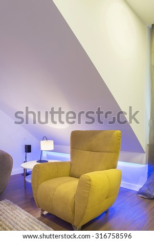 Living room detail - cozy armchair - stock photo