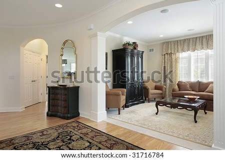Living room from foyer - stock photo