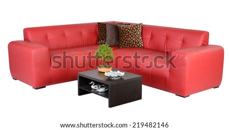 Living room furniture against white background. - stock photo