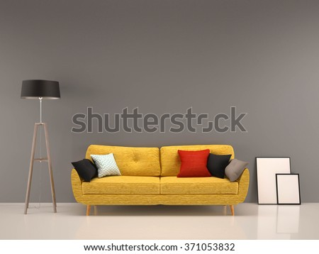 living room gray wall with yellow sofa-interior background - stock photo