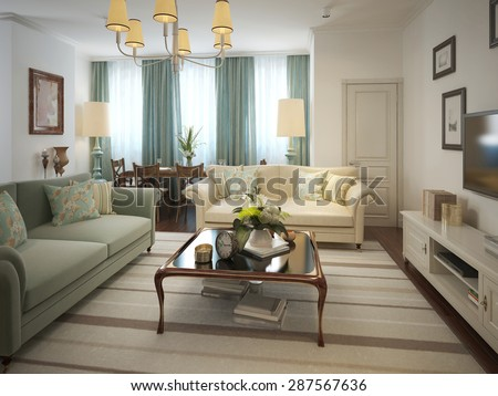 Living room in a classic style. 3d model